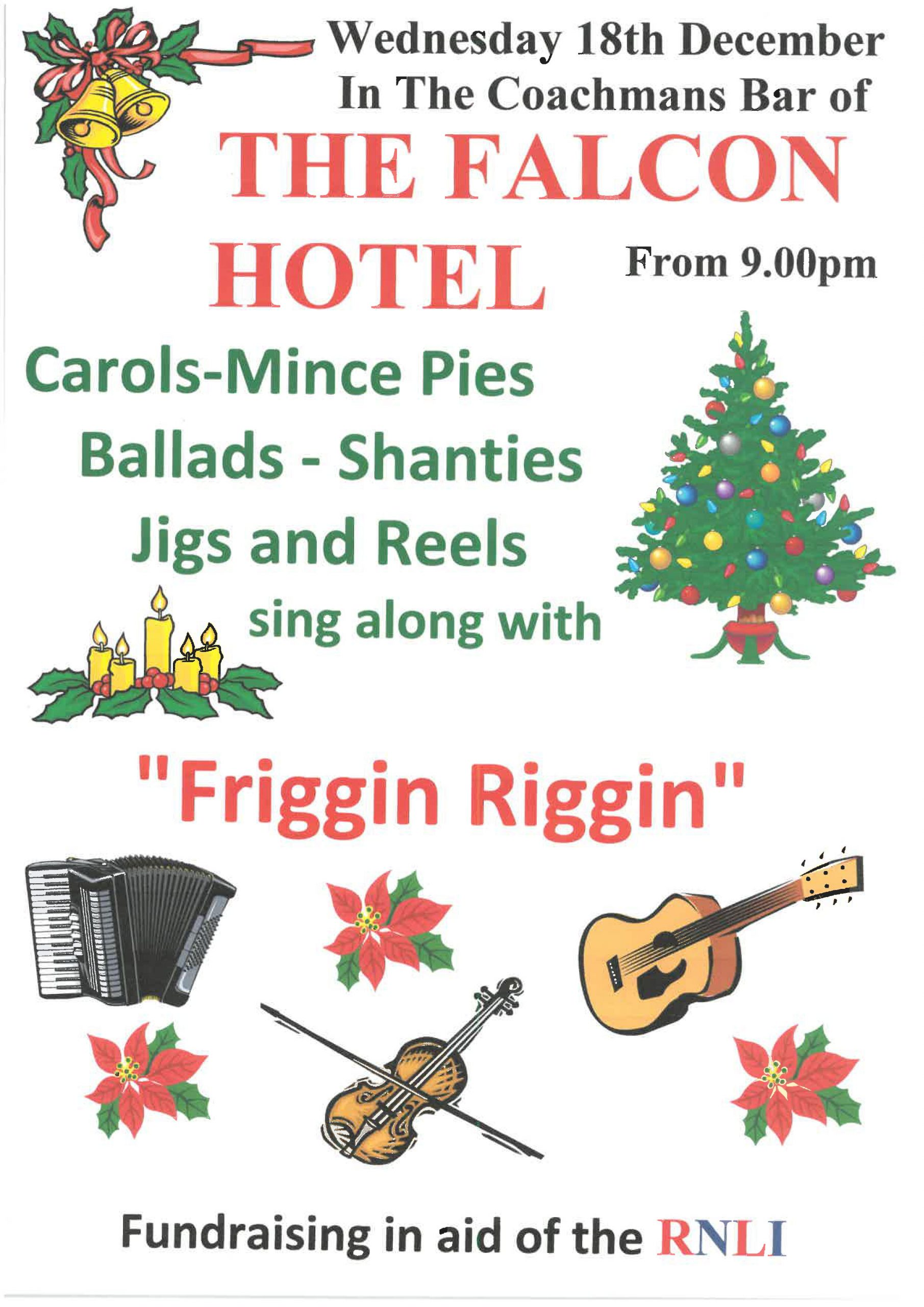 Friggin Riggin poster for 18 December 2019 at the Falcon Hotel, Bude